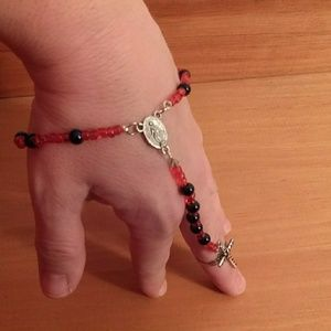 Wrist rosary with cross ring